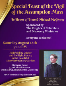 Mass in Honor of Blessed Michael McGivney Sat Aug 14th 5pm