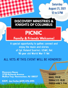 Discovery Ministries/Knights of Columbus Picnic – Saturday, August 21, 12-5PM