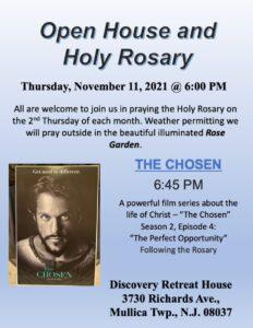 Open House & Holy Rosary Thursday Nov 11, 2021 @ 6pm