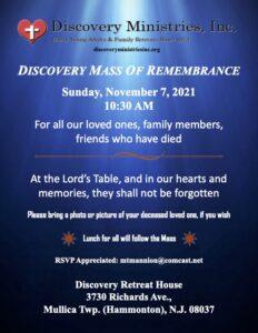 Mass of Remembrance, Sunday Nov. 7, 2021 @10:30am